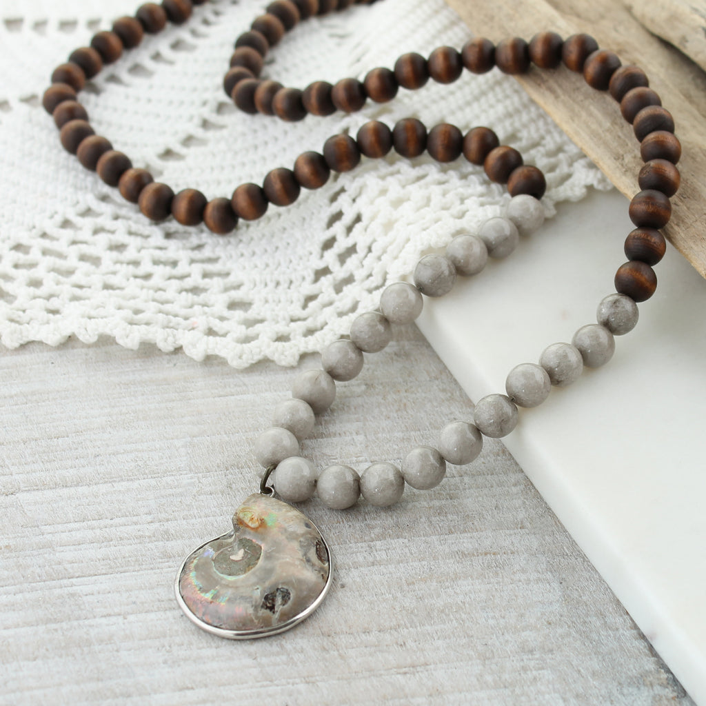 "Gray Stone & Wood Bead 34"" Necklace w/ Shell Pendant"