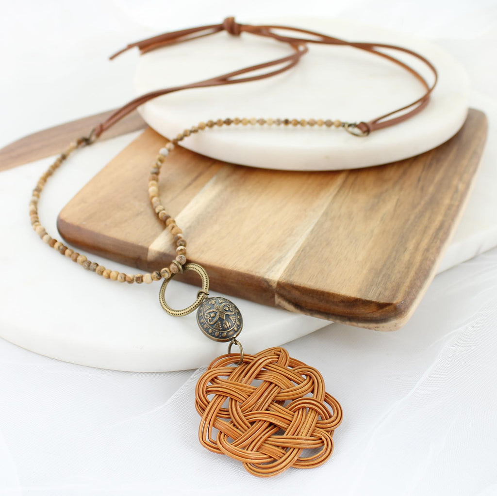 "34"" Stone & Leather Necklace w/ Basket Weave Pendant"
