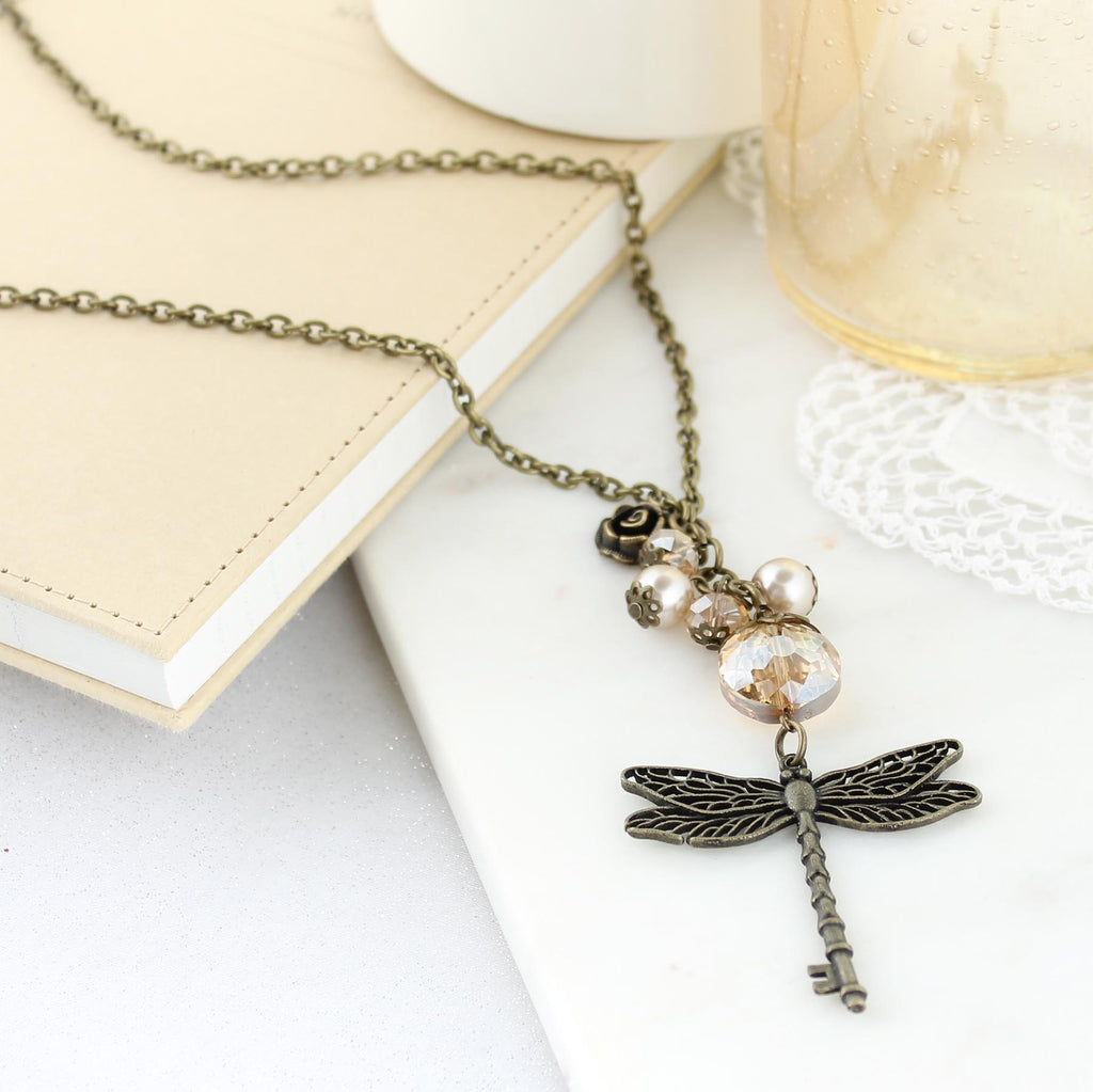 "36"" Vintage Dragonfly Key & Crystal Cluster Necklace"