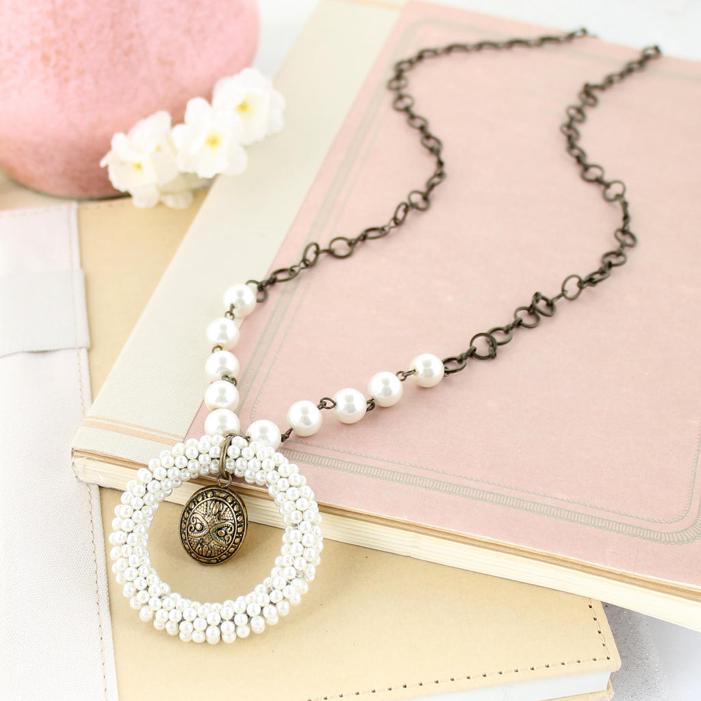 "34"" Pearl Seed Bead Circle Pendant Necklace"