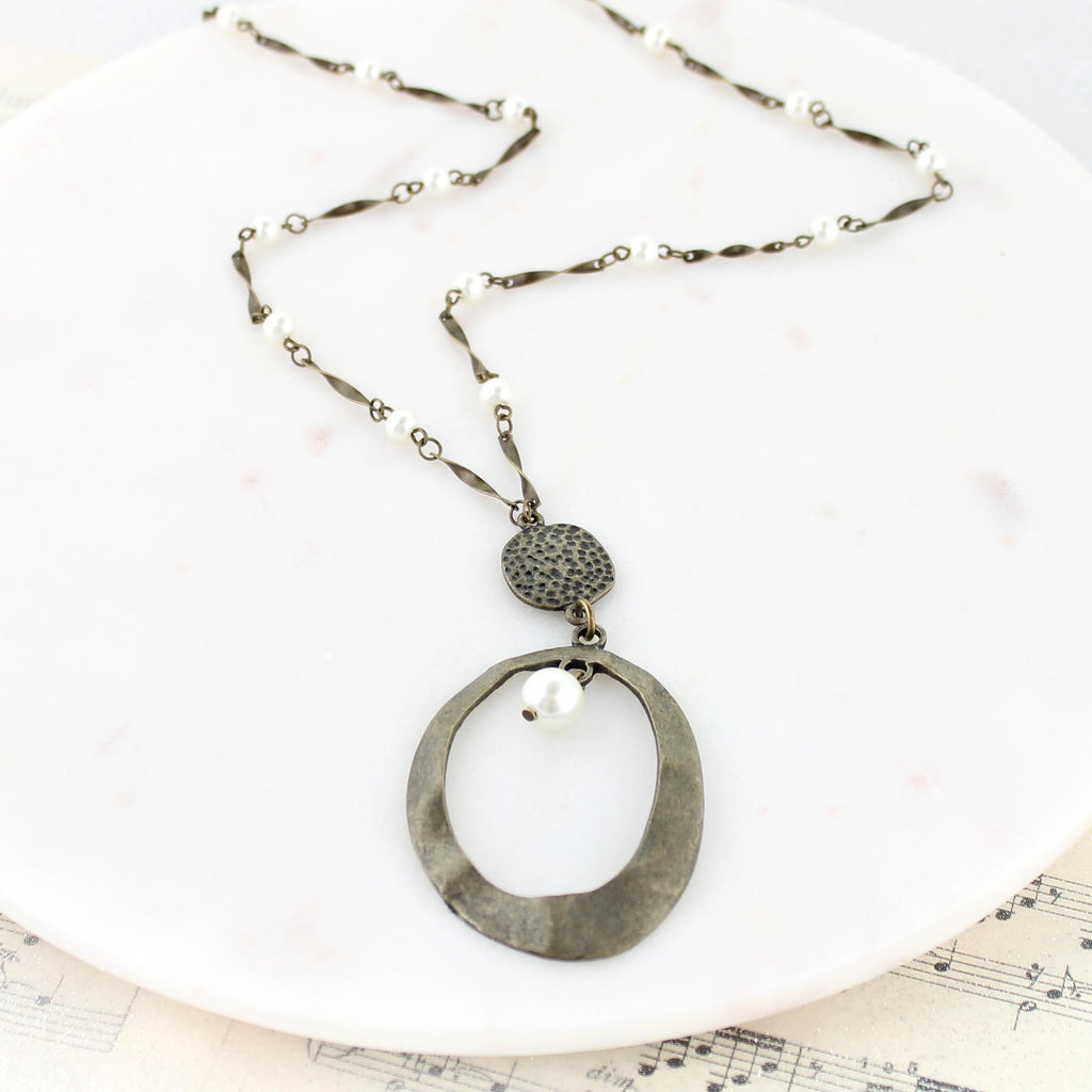 "34"" Hammered Oval & Pearl Necklace"