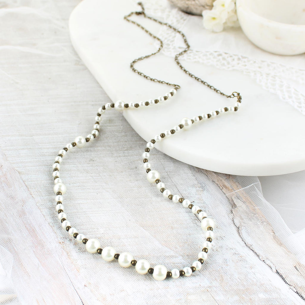 "38"" Pearl & Vintage Bead Necklace"
