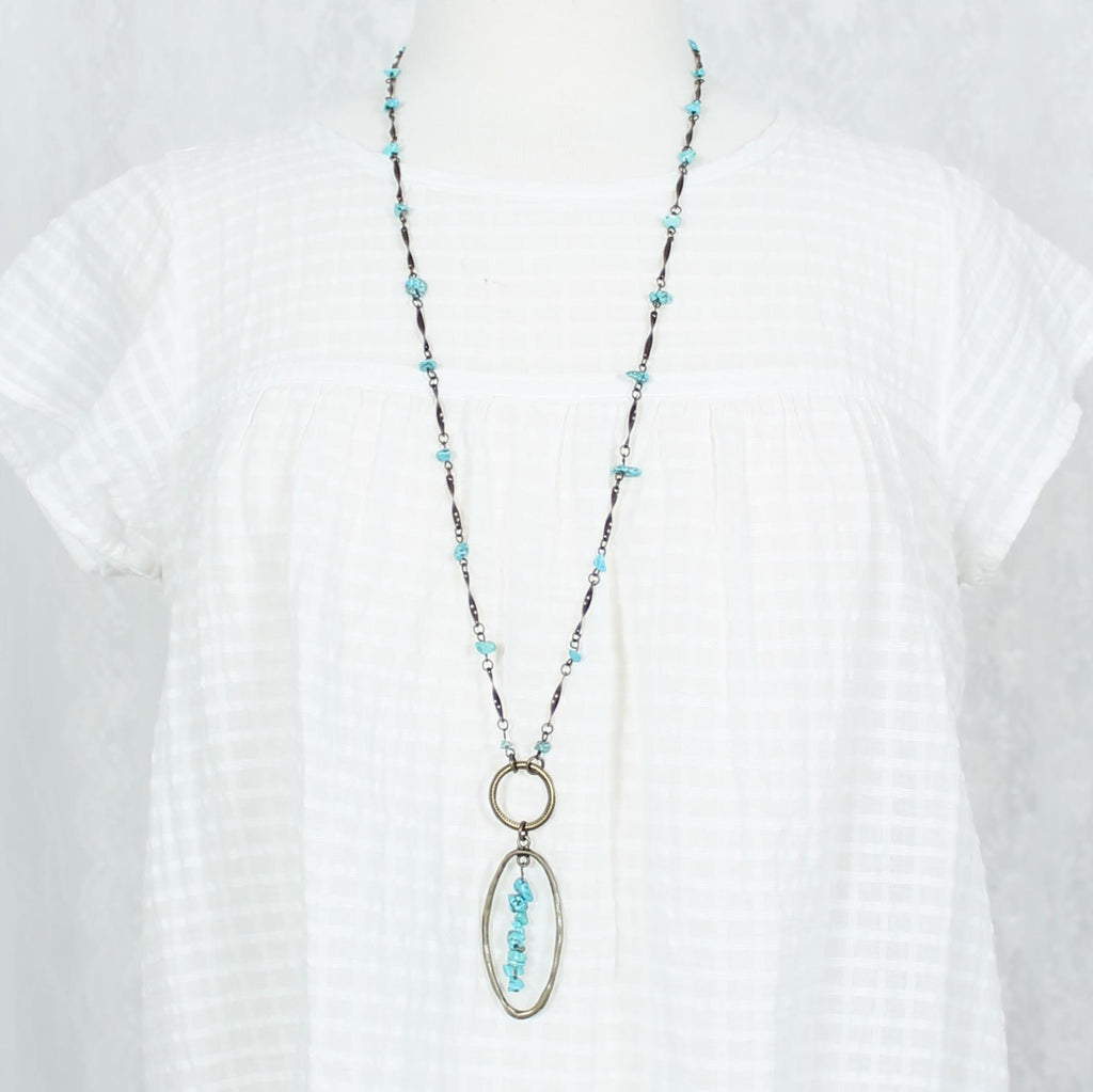 "34"" Vintage Oval Necklace w/ Turquoise Stones"