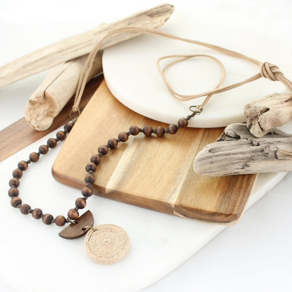 "38"" Twine & Wood Semi Circle Necklace"