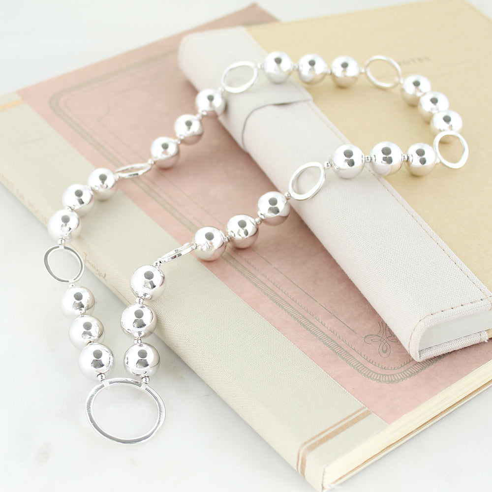 Circle Beads Necklace Silver