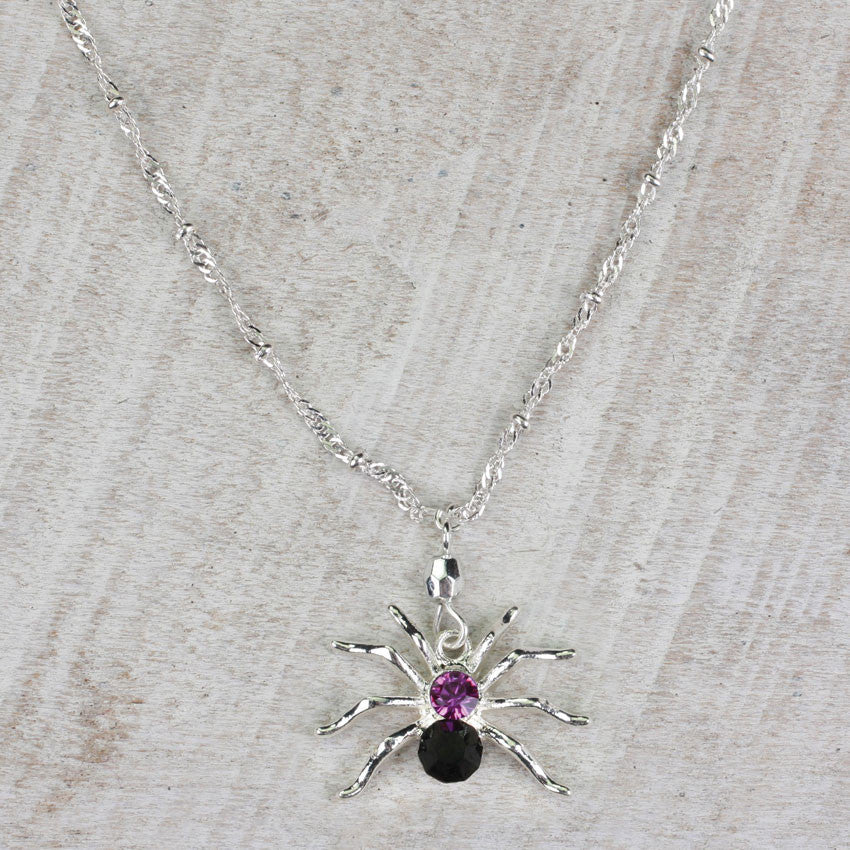 Seasons Jewelry Crystal Spider 16 inch Necklace