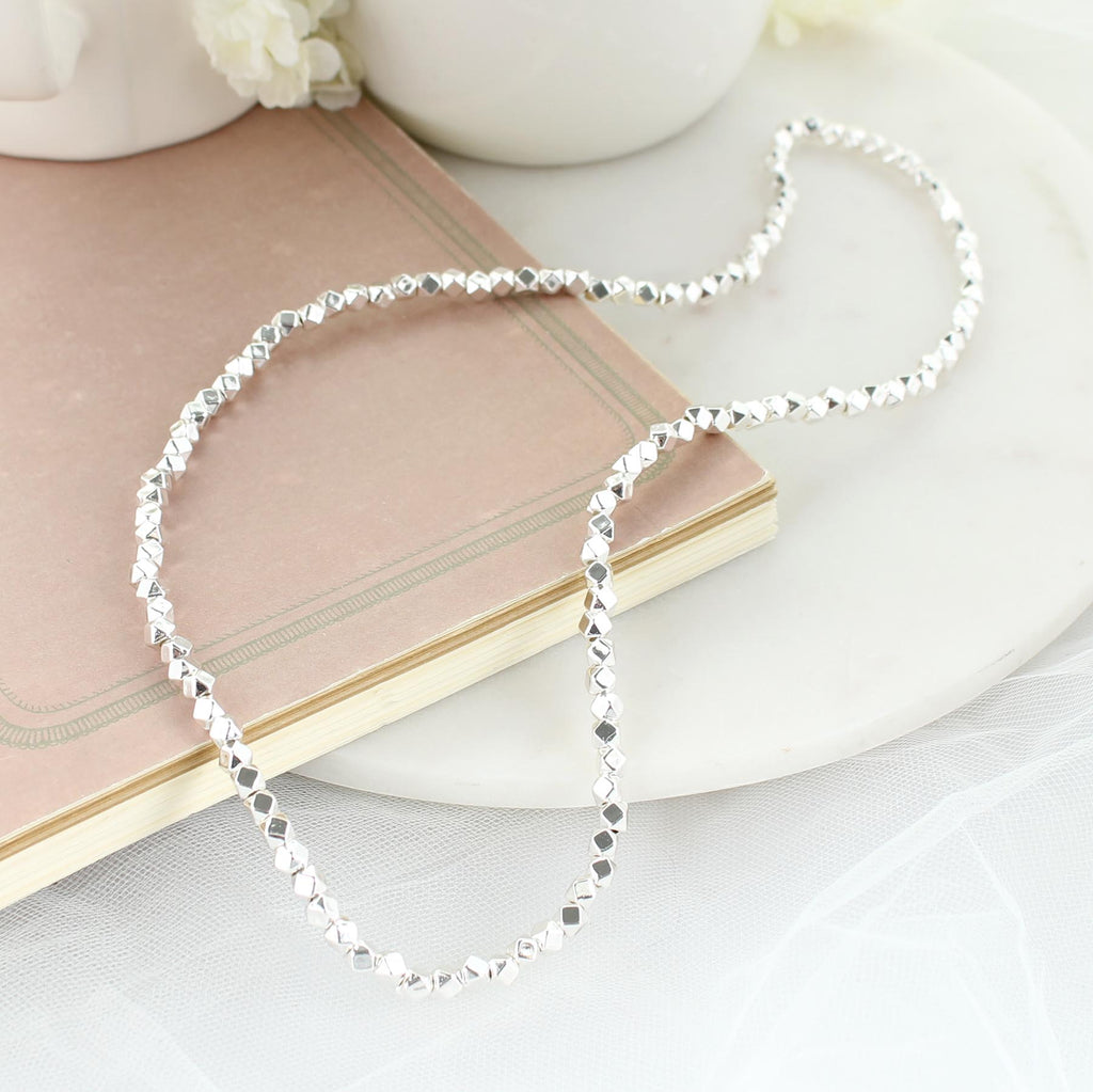 "24"" Silver Bead Stretch Necklace"