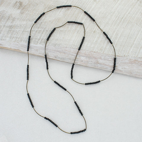 Vintage Style Black Crystal Bead Stretch Necklace