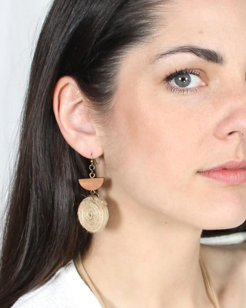 Twine & Wood Semi Circle Earrings