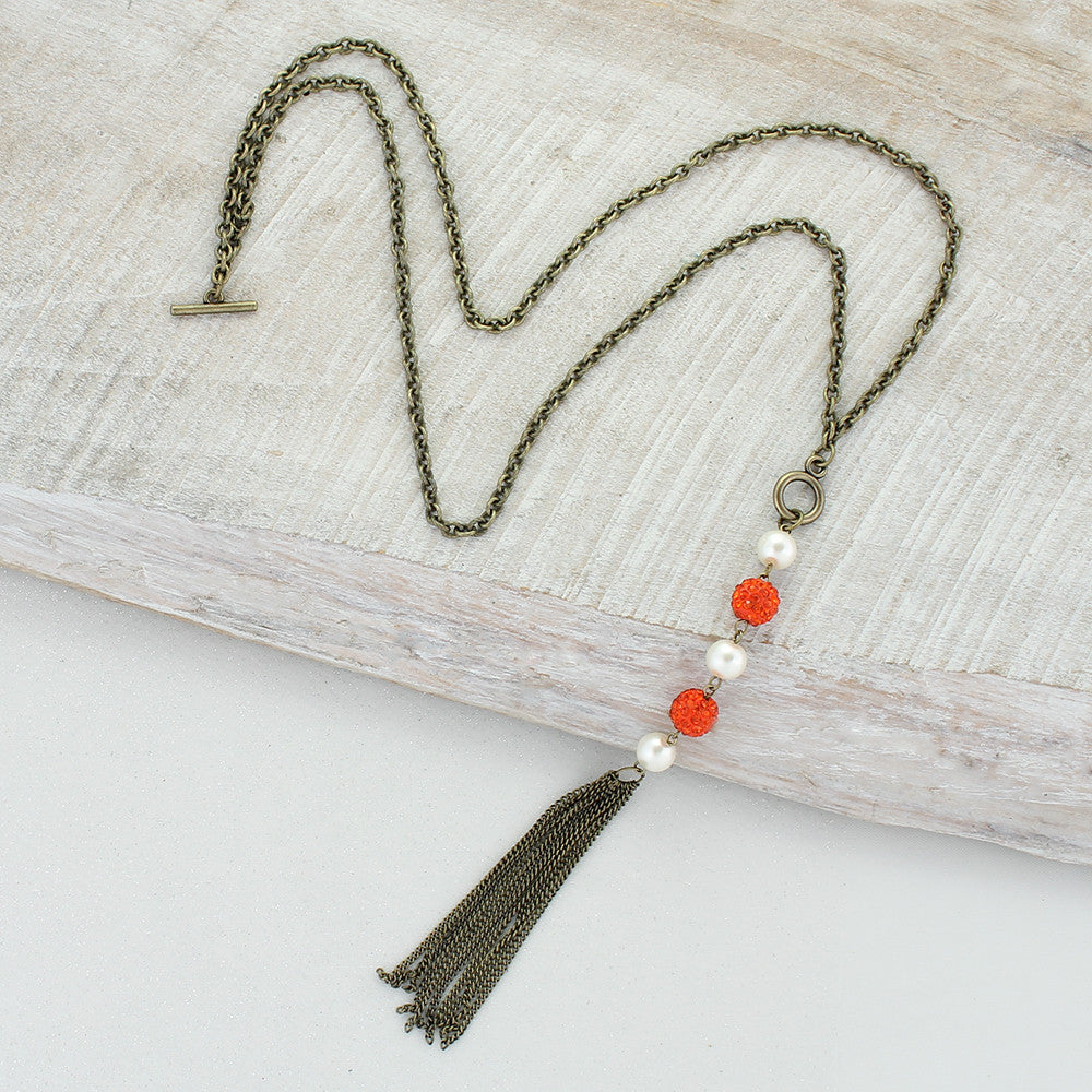 Orange Sparkle Bead Necklace with Pearls & Tassel
