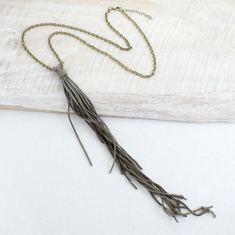 Vintage Chain & Long Taupe Tassel Necklace