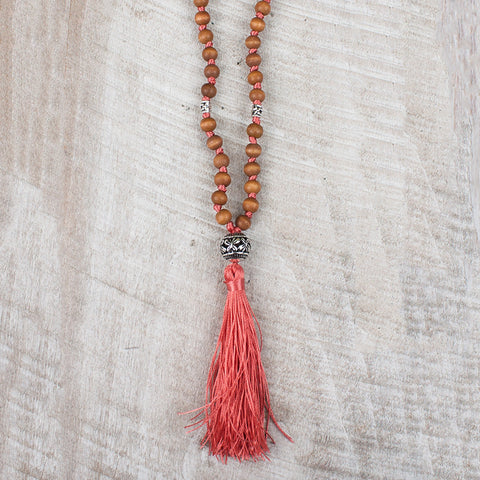 Sandalwood Necklace with Coral Tassel