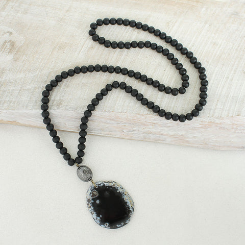 Black Wood Bead Necklace w/ Black Agate