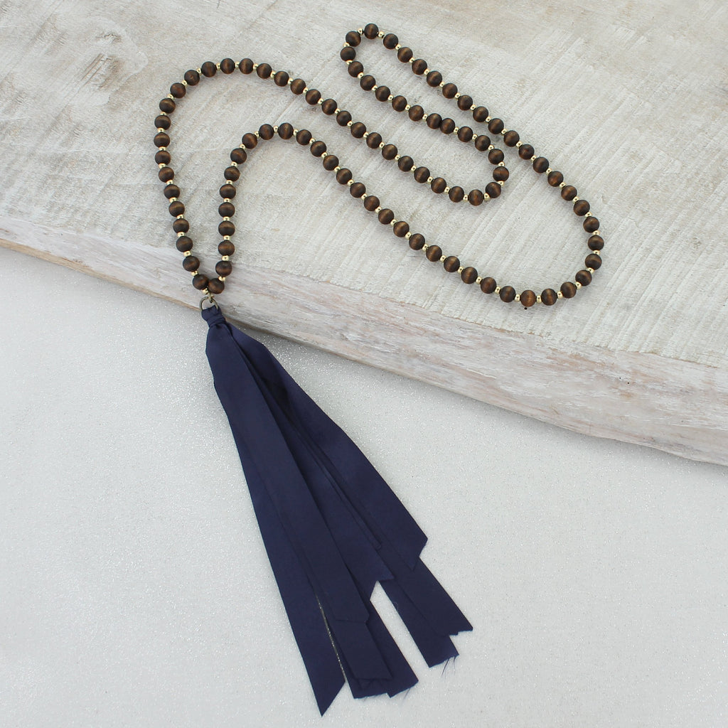 Wood Necklace with Navy Ribbon Tassel
