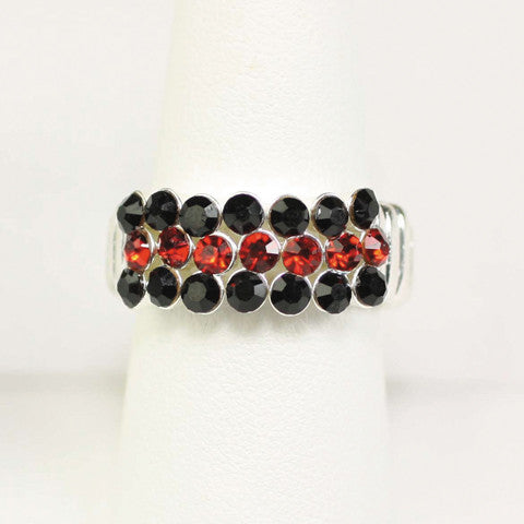 Seasons Jewelry Gameday Black and Red Crystal Stretch Ring