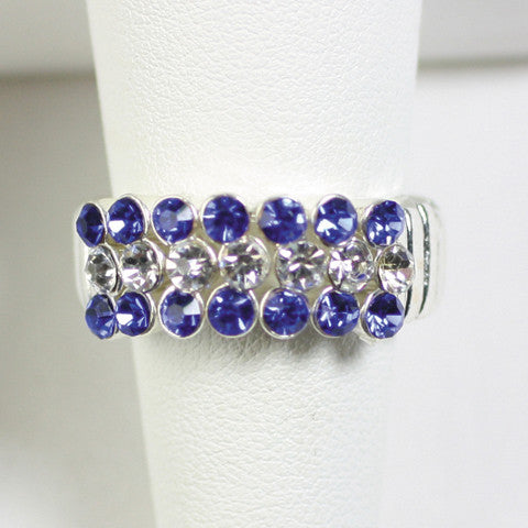 Seasons Jewelry Gameday Royal Blue and Clear Crystal Stretch Ring