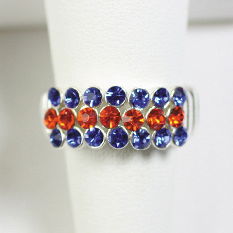 Seasons Jewelry Gameday Royal Blue and Orange Stretch Ring