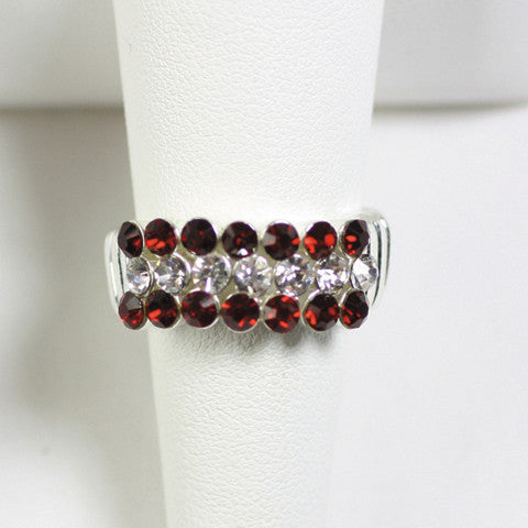 Seasons Jewelry Gameday Crimson and Clear Crystal Stretch Ring
