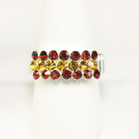Seasons Jewelry Gameday Garnet and Gold Crystal Stretch Ring