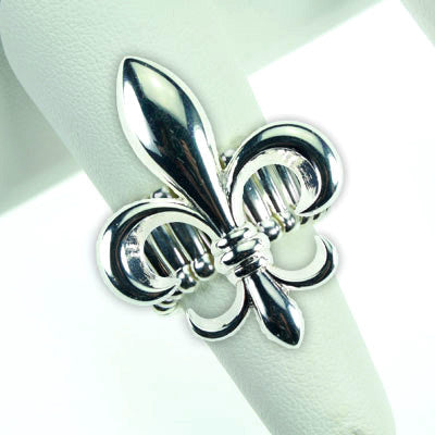 Silver Plated Fleur De Lis Stretch Ring
