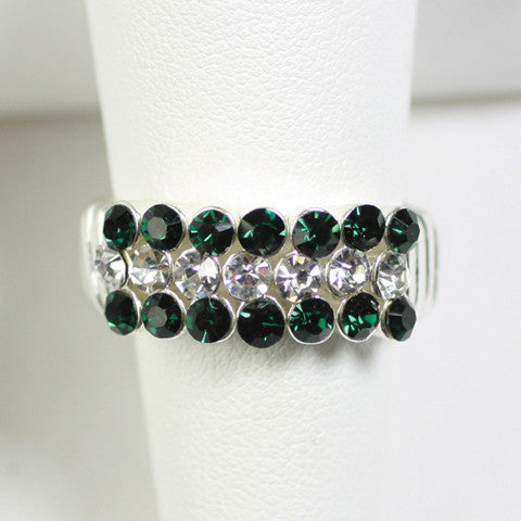 Seasons Jewelry Gameday Green and Clear Crystal Stretch Ring
