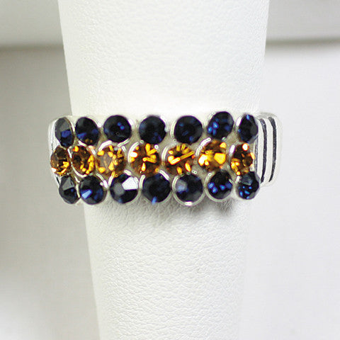 Seasons Jewelry Gameday Navy and Gold Crystal Stretch Ring
