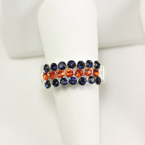 Seasons Jewelry Gameday Navy and Orange Crystal Stretch Ring