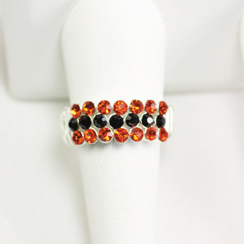 Seasons Jewelry Gameday Orange and Black Crystal Stretch Ring