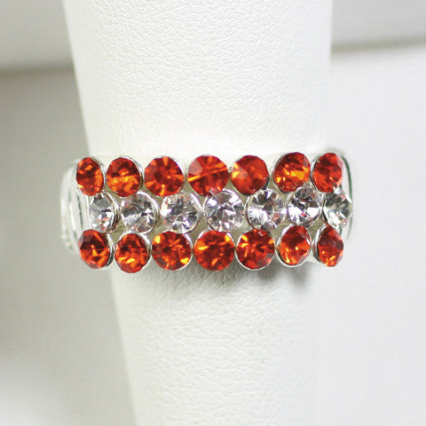 Seasons Jewelry Gameday Orange and Clear Crystal Stretch Ring