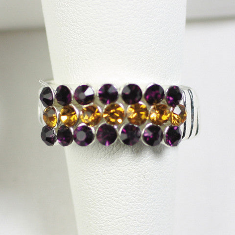 Seasons Jewelry Gameday Purple and Gold Crystal Stretch Ring
