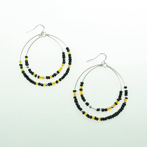 Black & Yellow Beaded Hoop Earrings