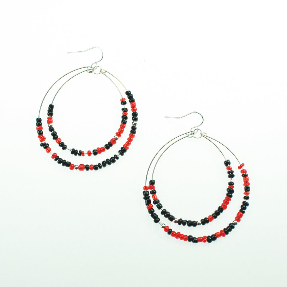 Red & Black Beaded Hoop Earrings