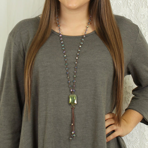 Gray Crystal Knotted Necklace