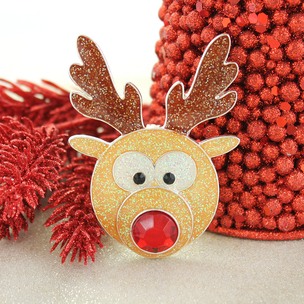 Roly Poly Glitter Reindeer Pin/Pendant