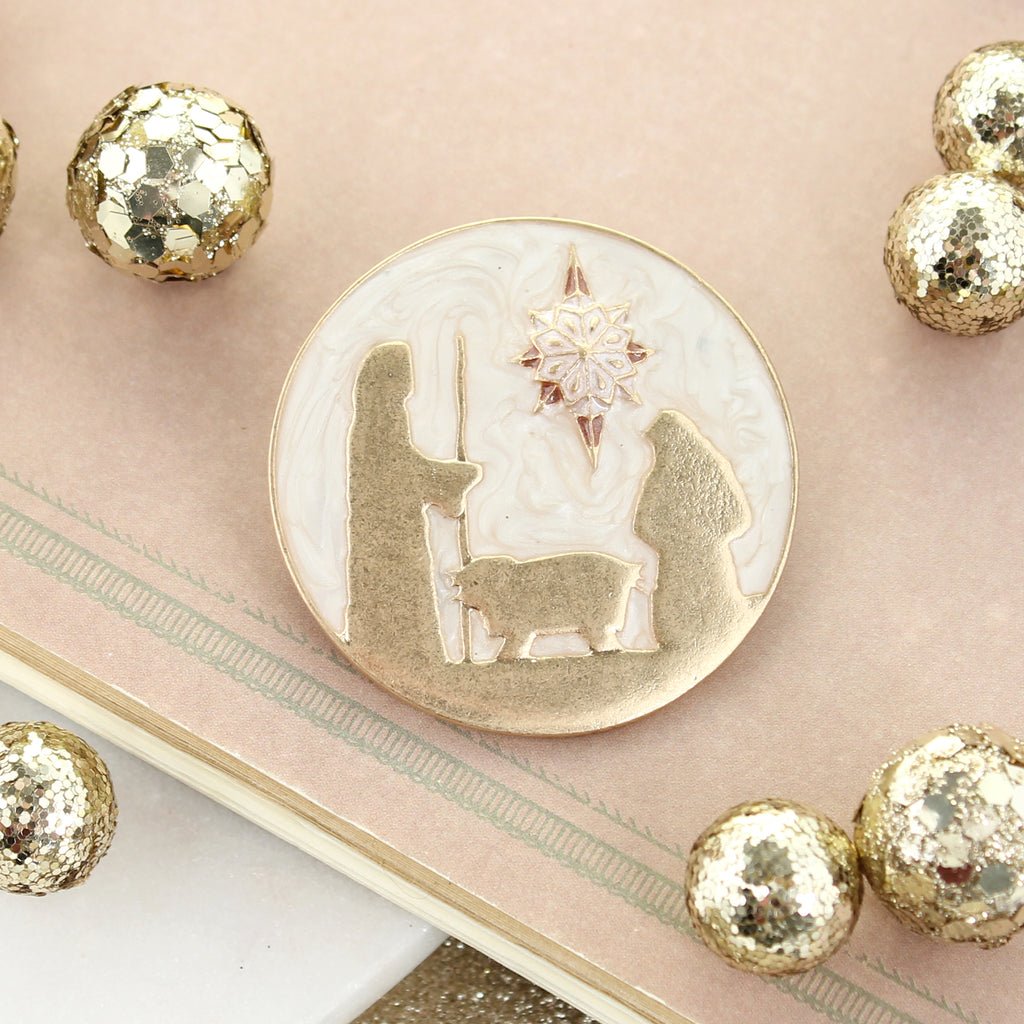 Enamel & Gold Nativity Pin/Pendant