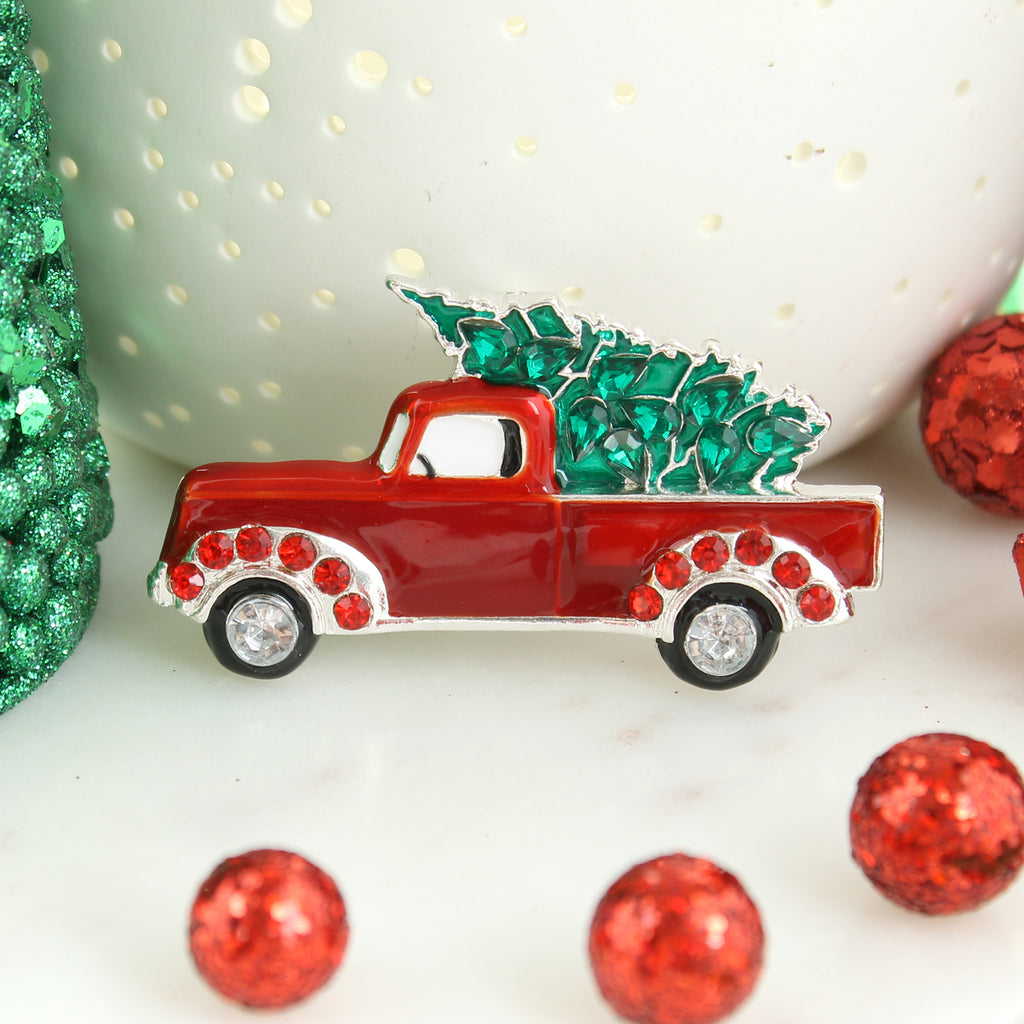 Red Pickup Truck & Christmas Tree Pin/Pendant