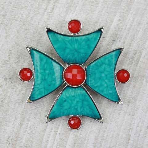 Seasons Jewelry Turquoise Cross with Coral Stones Pin/ Pendant