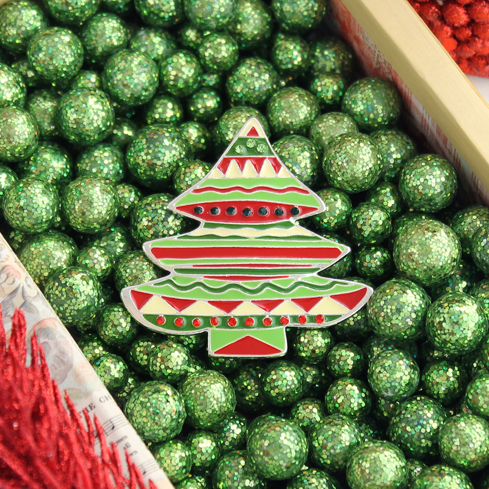 Red & Green Fiesta Christmas Tree Pin/Pendant