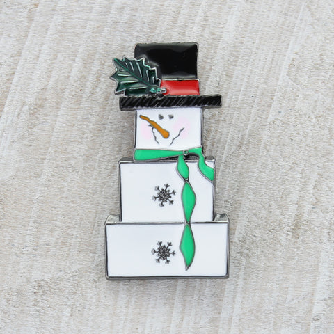 Boxy Snowman Clip-on Pin/Pendant