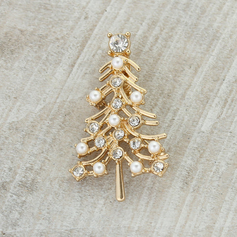Gold, Pearl & Crystal Tree Pin/Pendant