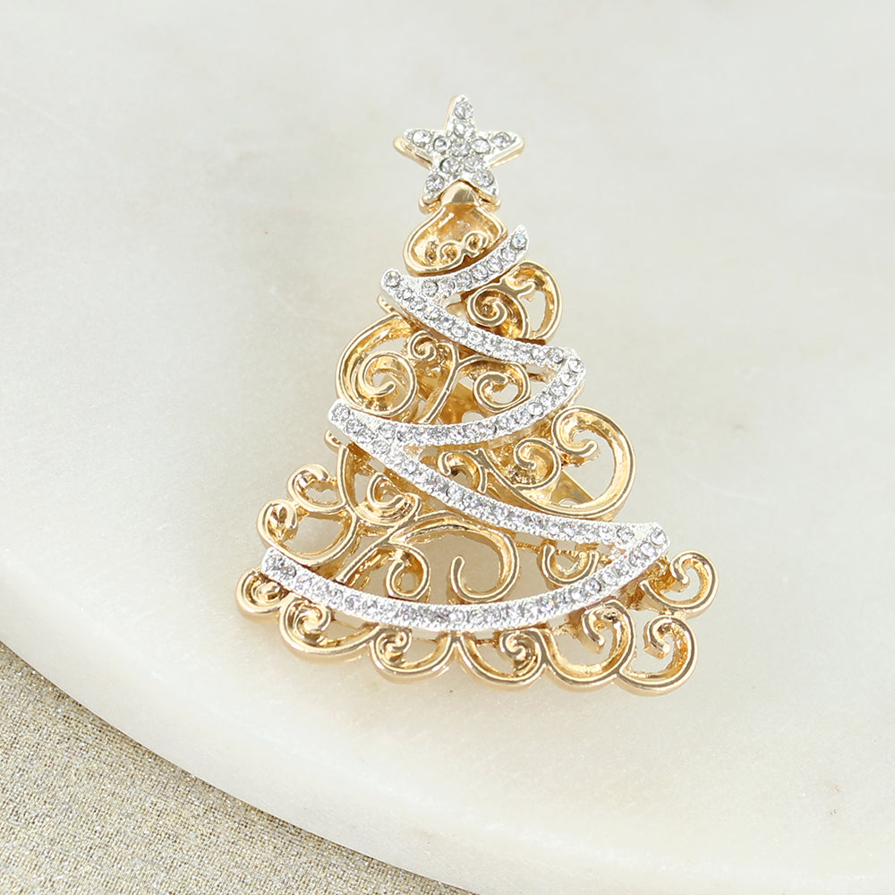 Gold & Silver Crystal Tree Pin/Pendant