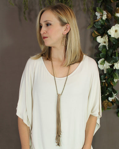 Vintage Chain & Long Natural Tassel Necklace