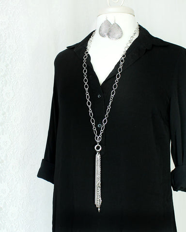 Antique Silver Chain & Tassel Necklace