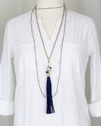 Blue Clip-on Tassel Necklace
