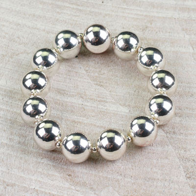 Seasons Jewelry Large Silver Beaded Bracelet