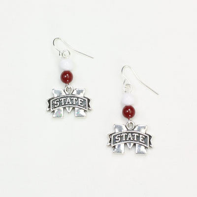 Seasons Jewelry Mississippi State Wire Logo Earring