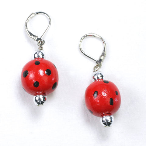 Texas Tech Polka Dot Wood Bead Earrings