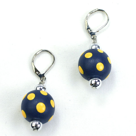 West Virginia Polka Dot Wood Bead Earrings