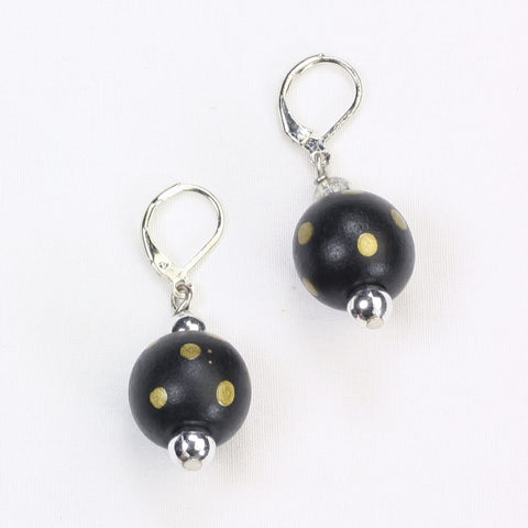 Black & Gold Polka Dot Wood Bead Earrings