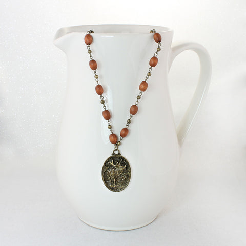 Elk Medallion & Wood Bead Necklace